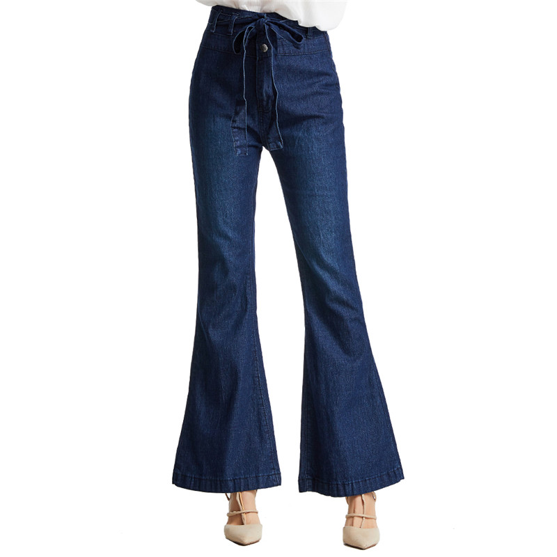 Flare Jeans Woman Autumn Winter High Waist Jeans Women Trousers Elastic Plus Loose Denim Jean Pant Retro Wide Leg Pants Women