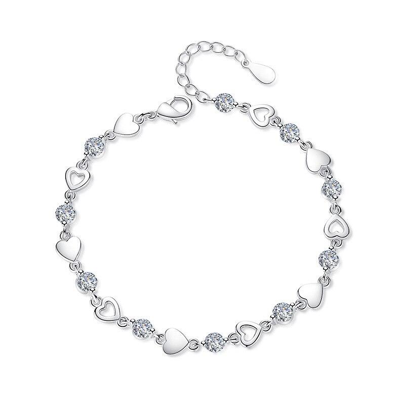 ModaOne New Fashion 925 Sterling Silver Love Heart Zircon Bracelets For Women Crystal Jewelry pulseira feminina