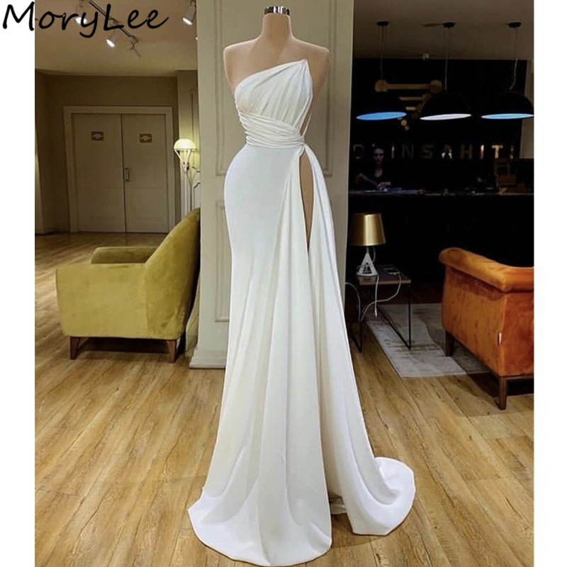 Ivory Evening Dresses Sexy Side Slit Zipper Back Mermaid Spandex Evening Dresses With Zipper Back Vestidos De Fiesta De Noche