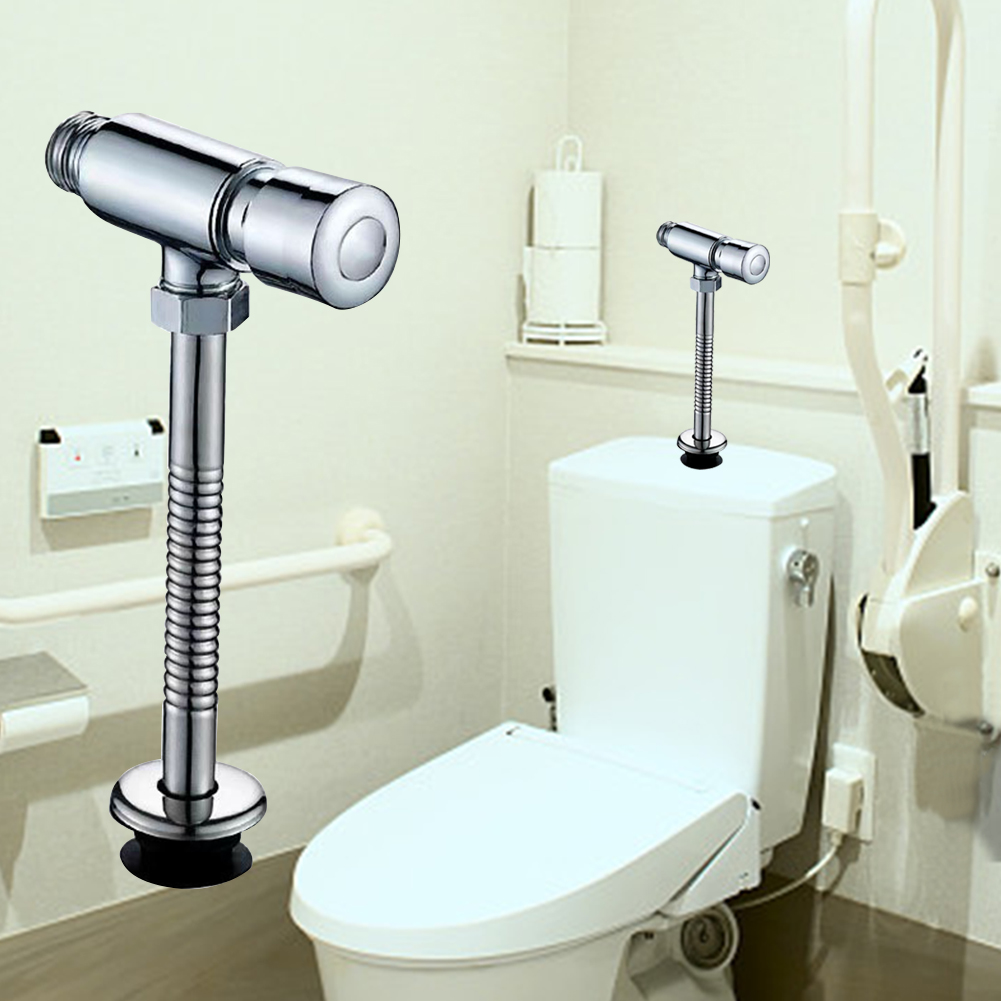 Multifunction Zinc Alloy Durable Urinal Flush Valve Hand Pressing Bathroom Toilet Home Practical Easy Install Manual Office 3