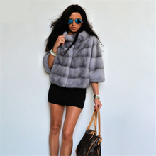 TOPFUR 2019 Fashion Gray Mink Coat With Fur Collar Real Women Nine Quarter Aleeves Short Jacket Natural Coats