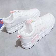 New white shoes women's versatile lace up breathable shoes Korean thick soled shoes flat running shoes