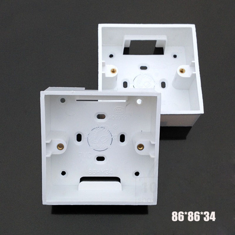 2-30pcs  86 Type Junction Box Surface Mount Bottom Wall Switch Socket White PVC Box 86*86*34mm