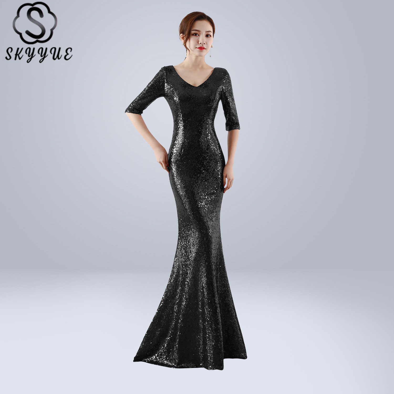 Skyyue Evening Dress Solid Half-sleeve Women Party Dresses Elegant Zipper Robe De Soiree 2019 V-neck Sequin Formal Gowns C259