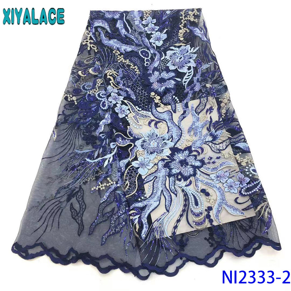 African Sequin Lace Fabric 2019 High Quality Lace Embroidery Net Lace Fabric Sequins Wedding For Women KSNI2333-2