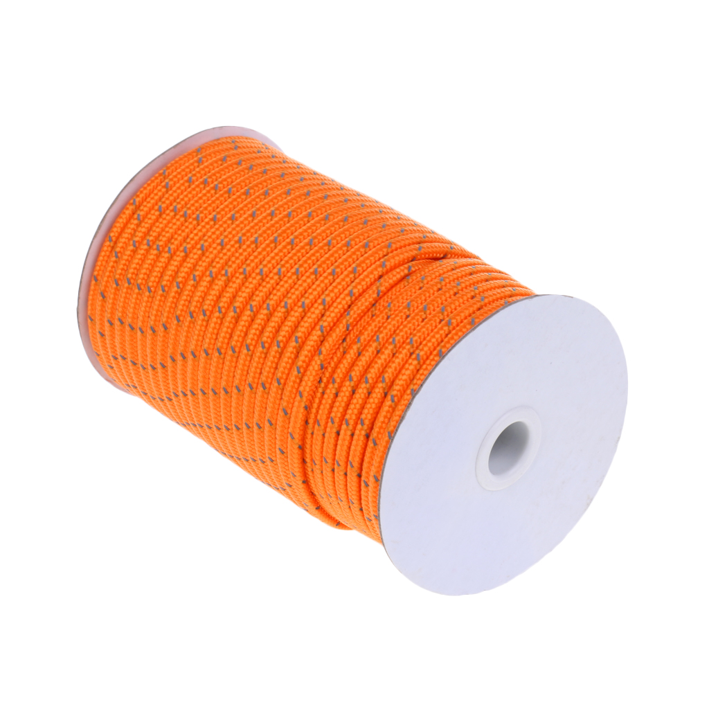 1 Roll 50m Reflective Guyline Camping Tent Rope + 5 Tent Stakes Pegs Orange|Tent Accessories| |  - title=