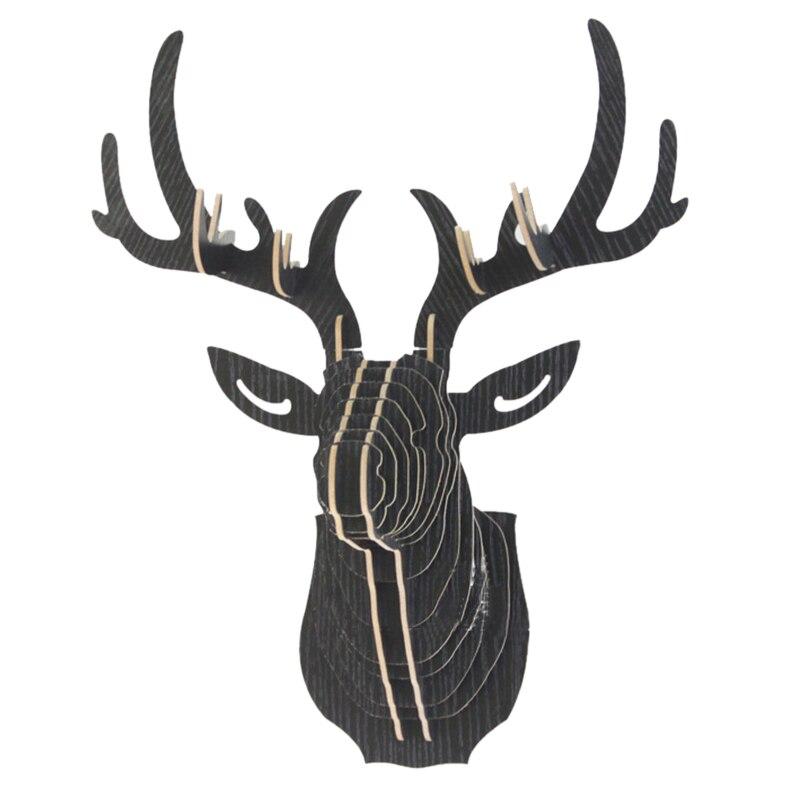 Dozzlor 3D Wooden Animal Deer Head Art Model Home Office Wall Hanging Decoration Storage Holders Racks Gift Craft  Home Decor