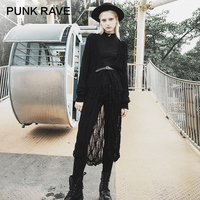 PUNK RAVE Girl's Gothic Cardigan Thin Hollow out Long Knit Jacket Women Black Long Sweater Streetwear