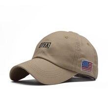 Хлопковая мужская бейсбольная кепка с вышитым американским флагом