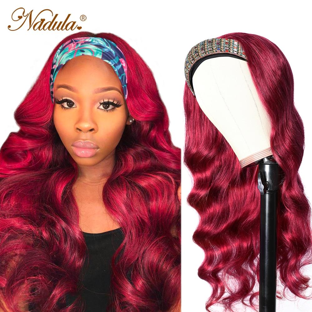 "Burgundy  Wig 18""20""22""  Body Wave Hair Headband Wig  Nadula Headband Wig  No Glue No Gel 1"