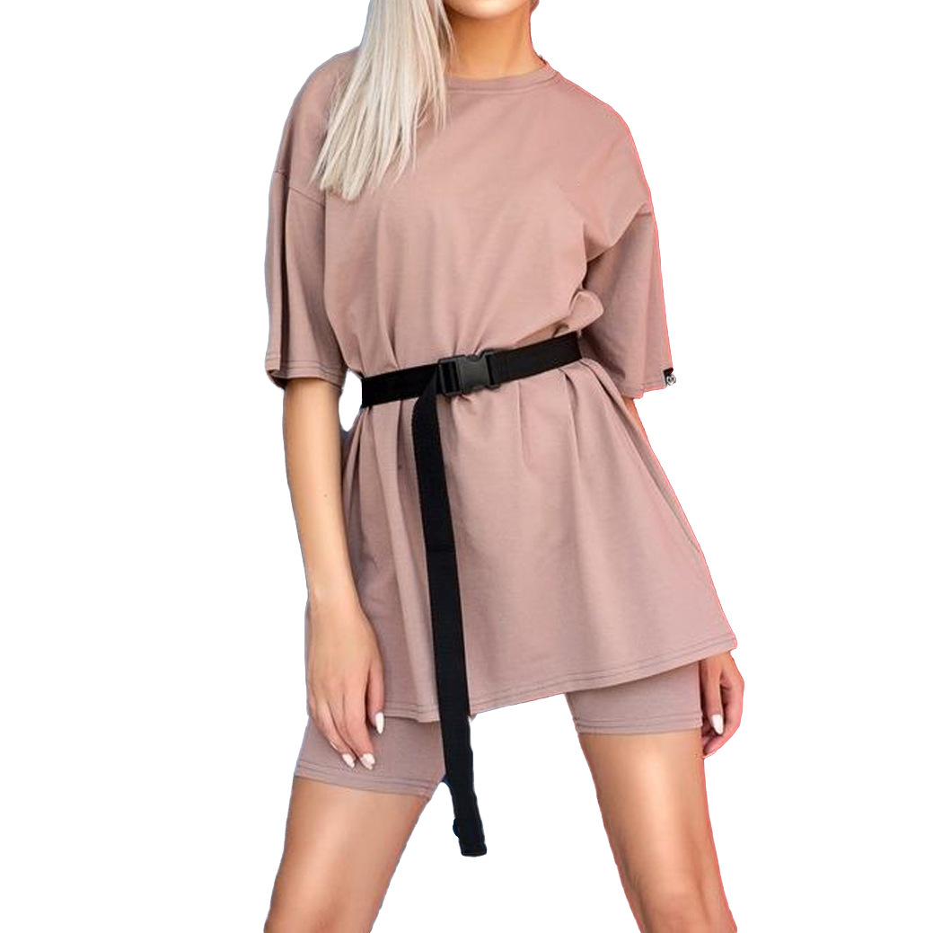 Casual Solid New Women's Two Piece With Belt 2020 Summer Fashion Casual Home Solid Color Loose T-shirt Shorts Female Playsuits