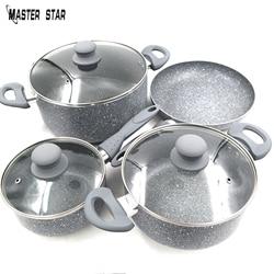 Мастер звезды люкс качества серый Мрамор сковорода с двумя ручками и соусом горшок миля горшок Гранит непригорающих наборов посудов огонь ...