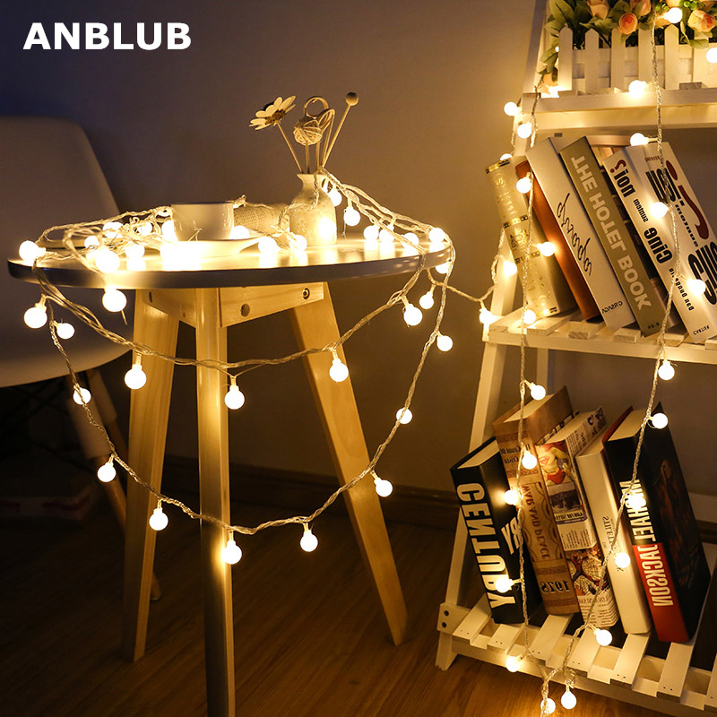 >ANBLUB 1.5M 3M 6M Fairy Garland LED Ball String <font><b>Lights</b></font> Waterproof For Christmas Wedding Home Indoor Decoration Battery Powered