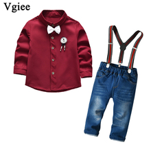 Vgiee Kids Clothes Boys Fall Children Set Full Turn-down Collar  Cotton Boy Clothing Wedding Birthday Party CC736 2018 children cotton pajamas set boys girls cardigan turn down collar solid color clothing kids air conditioning suit homewears