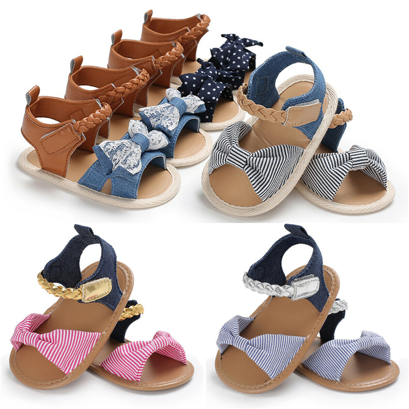 2020 Children Summer Shoes Newborn Infant Baby Girl Boy Soft Crib Shoes Infants Anti-slip Sneaker Striped Bow Prewalker 0-18M