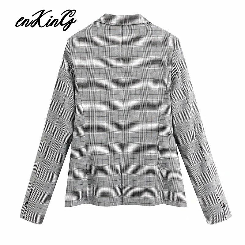 2020 england office lady vintage houndstooth plaid blazer feminino za blazer women suit pants women trousers women 2 pieces set