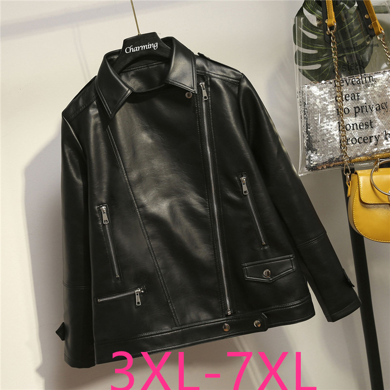 2019 Autumn Winter Plus Size Jacket For Women Casual Loose Long Sleeves Short Leather Coat Large Size Black 4XL 5XL 6XL 7XL