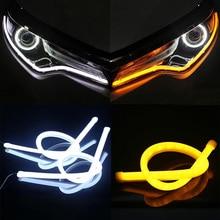 2 Pcs 30cm 45cm 60cm Vehicle DRL Flexible Tube Strip Led Car Daytime Running Lights Flowing Turn Signal Angel Eyes Car Styling цена 2017