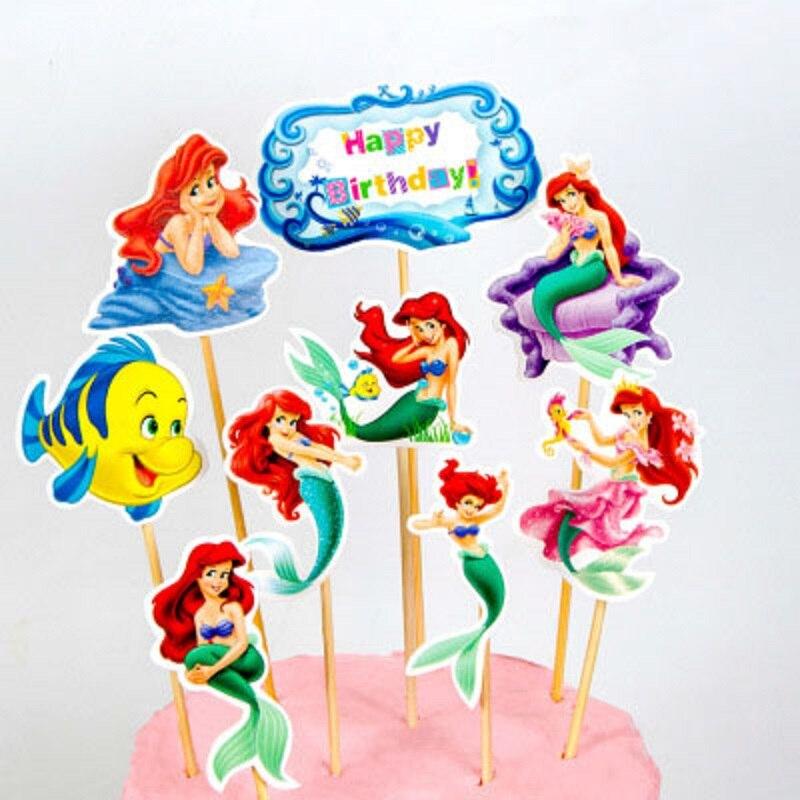 Декор для вечерние НКИ «Русалка Ариэль» Disney, латексные воздушные шары для девочек на день рождения, бумажная шапка, салфетки, тарелка, скате...
