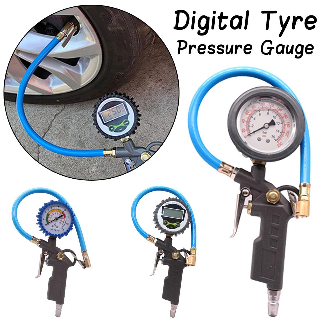 0-220PSI Car Tire Air Pressure Gauge Dial Meter Vehicle Inflation Gun Handle Grip Trigger Inflator For Car/ Auto Repair Tool