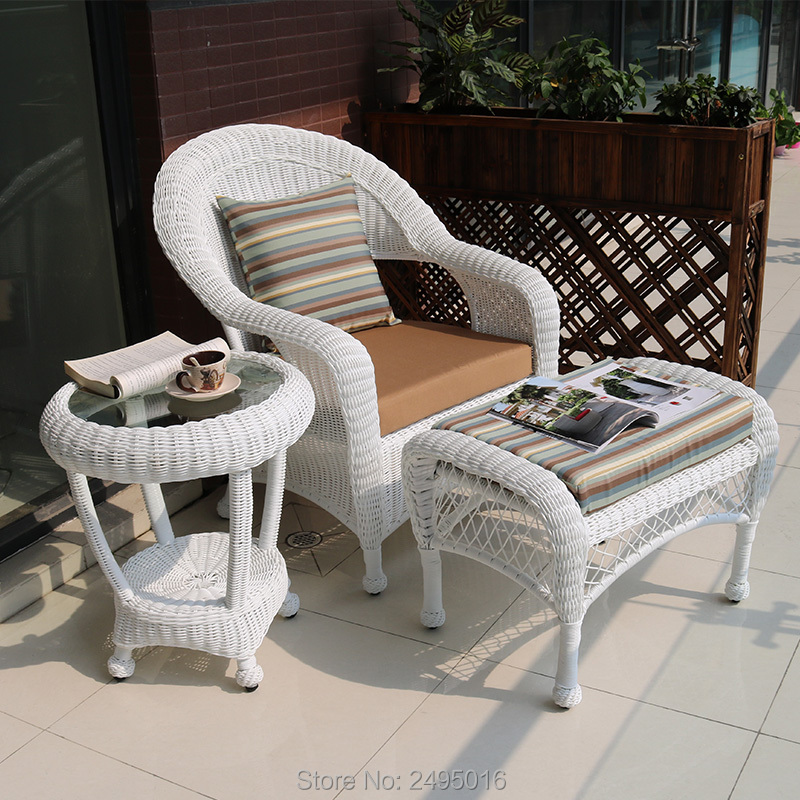 3pcs / Set Balcony Porch Furniture Sets Metal Frame & PE Rattan Wicker Round ,Outdoor Garden  Sets  With Small Table ,stool
