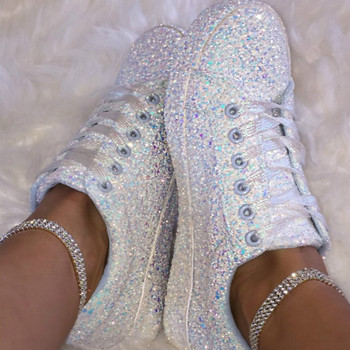 Sequin Flat Vulcanize Canvas Shoes Women White Sneakers 2020 Spring Female Fashion Casual Bling For