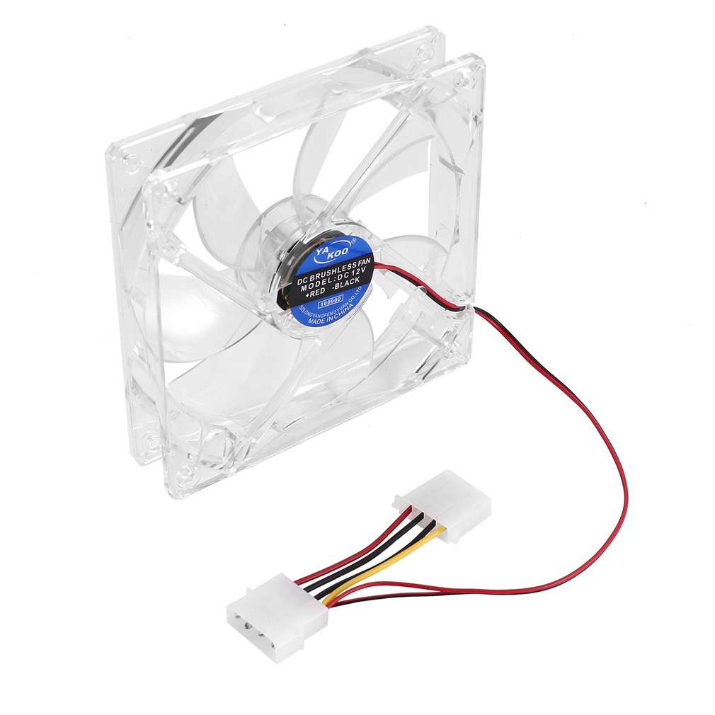 4 Pin PC Computer Clear Case Quad 4-LED Light 9-Blade CPU Cooling Fan