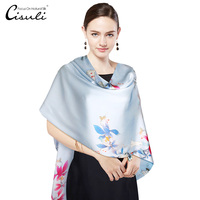 CIUSLI 100% Silk Long Scarf and Shawl Women Natural Silk Satin Two Layer Printed With Button Luxury Winter Scarf Birthday Gift