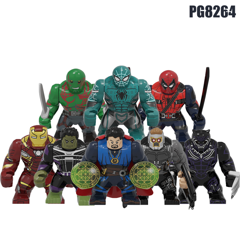 50Pcs Building Blocks 7cm Gift Super Heroes Spiderman Hulk Star-Lord Dr. Strange Drax Iron Man Figures Toys Gift For Kids PG8264