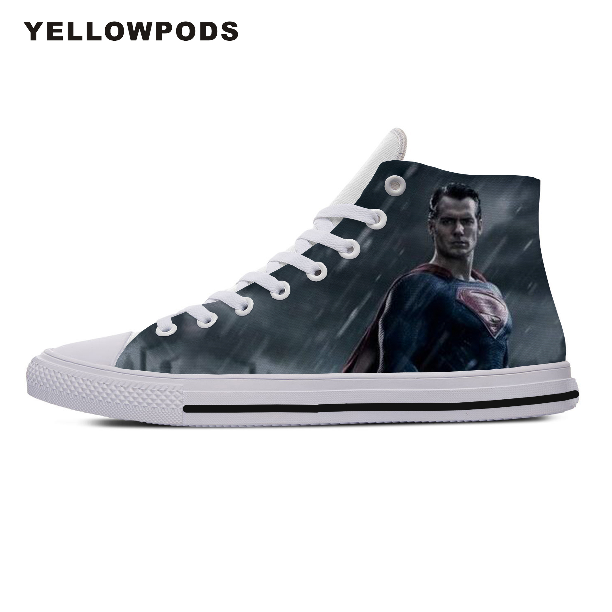 Personality Men's Casual Shoes Hot Cool Pop Funny High Quality Handiness Superman Man Of Steel Cute Cartoon Custom Shoes White