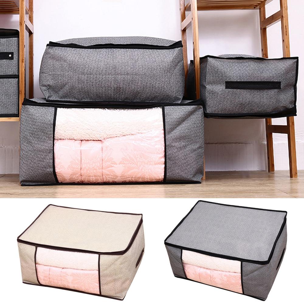 Saco de armazenamento para roupas cobertor portátil não-tecido dobrável roupas travesseiro colcha cobertor caixa de armazenamento organizador