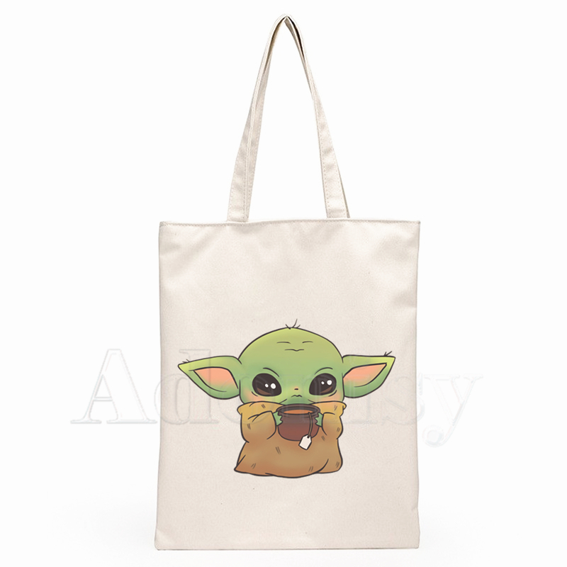 Star Wars Lovely Baby Yoda Mandalorian Women Package Elegant Canvas Bag Handbags Shoulder Bags Casual Shopping Girls Handbag