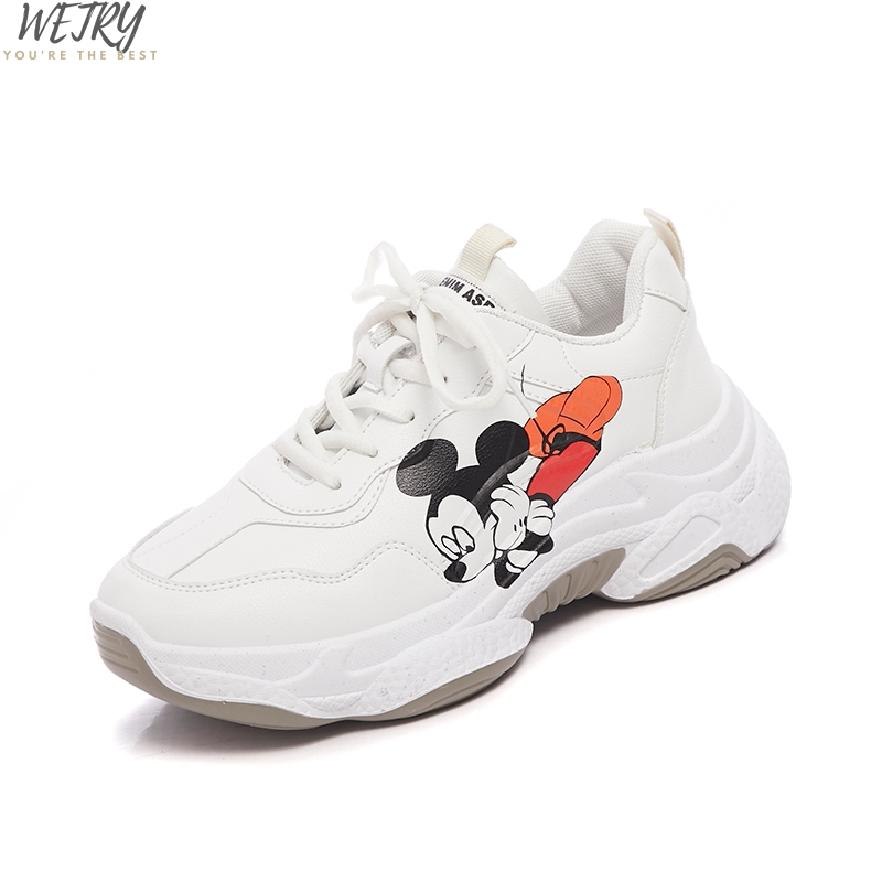 2020 Spring Casual Shoes Small White Shoes PU Female Mickey Cartoon Breathable Platform Increased Sneakers 35-40 Zapatos Mujer