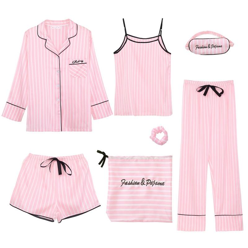 JULY'S SONG Pink Women's 7 Pieces Pajamas Sets Emulation Silk Striped Pyjama Women Sleepwear Sets Spring Summer Autumn Homewear