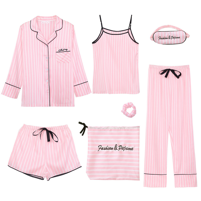 JULY'S SONG Pink Women's 7 Pieces   Pajamas     Sets   Emulation Silk Striped Pyjama Women Sleepwear   Sets   Spring Summer Autumn Homewear