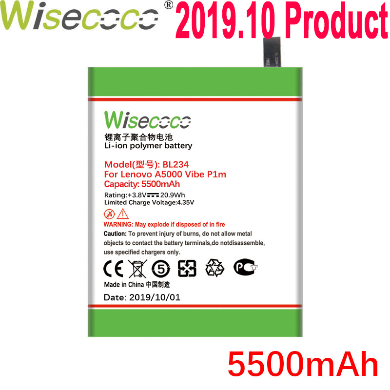 WISECOCO 5500mAh BL234 Battery For Lenovo A5000 Vibe P1M P1MA40 P70 P70t P70-T P70A P70-A Mobile Phone With Tracking Number image
