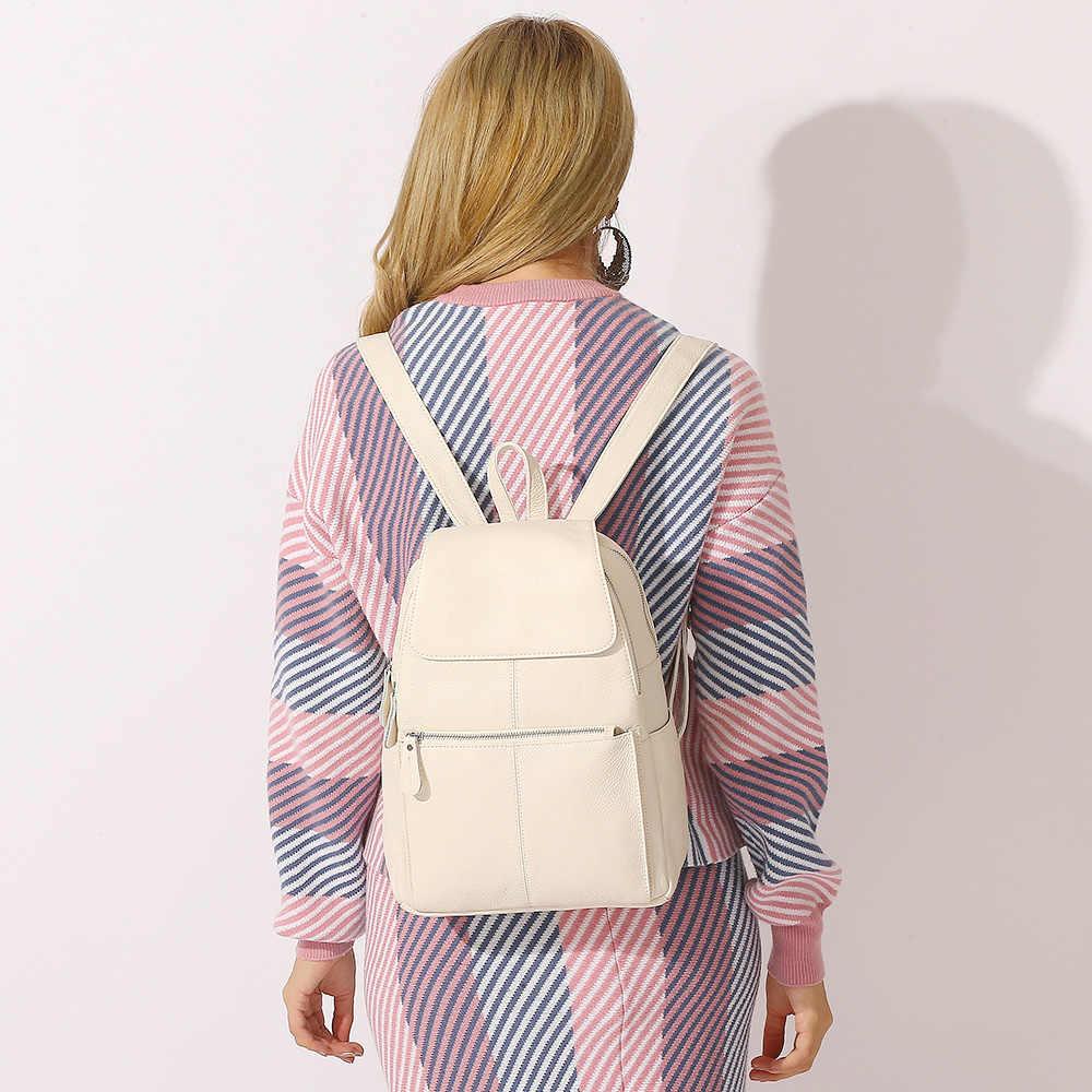 Zency Fashion Soft Lederen Grote Vrouwen Rugzak Hoge Kwaliteit Een + Dames Dagelijkse Toevallige Reistas Knapzak Schooltas Boek