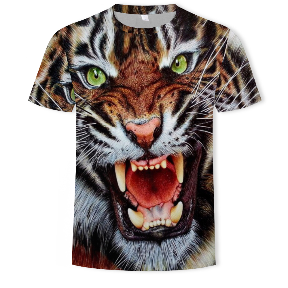 Men/'s 3D Animal Tiger Printed T-shirts Short Sleeve Funny Tee New Casual Tops