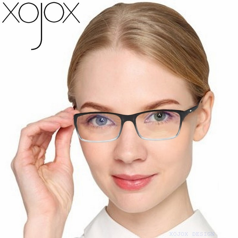XojoX Men Women Reading Glasses Vintage Rectangle Reading Eyeglasses Fashion Red Anti-blue Light Prescription Hyperopia Glasses