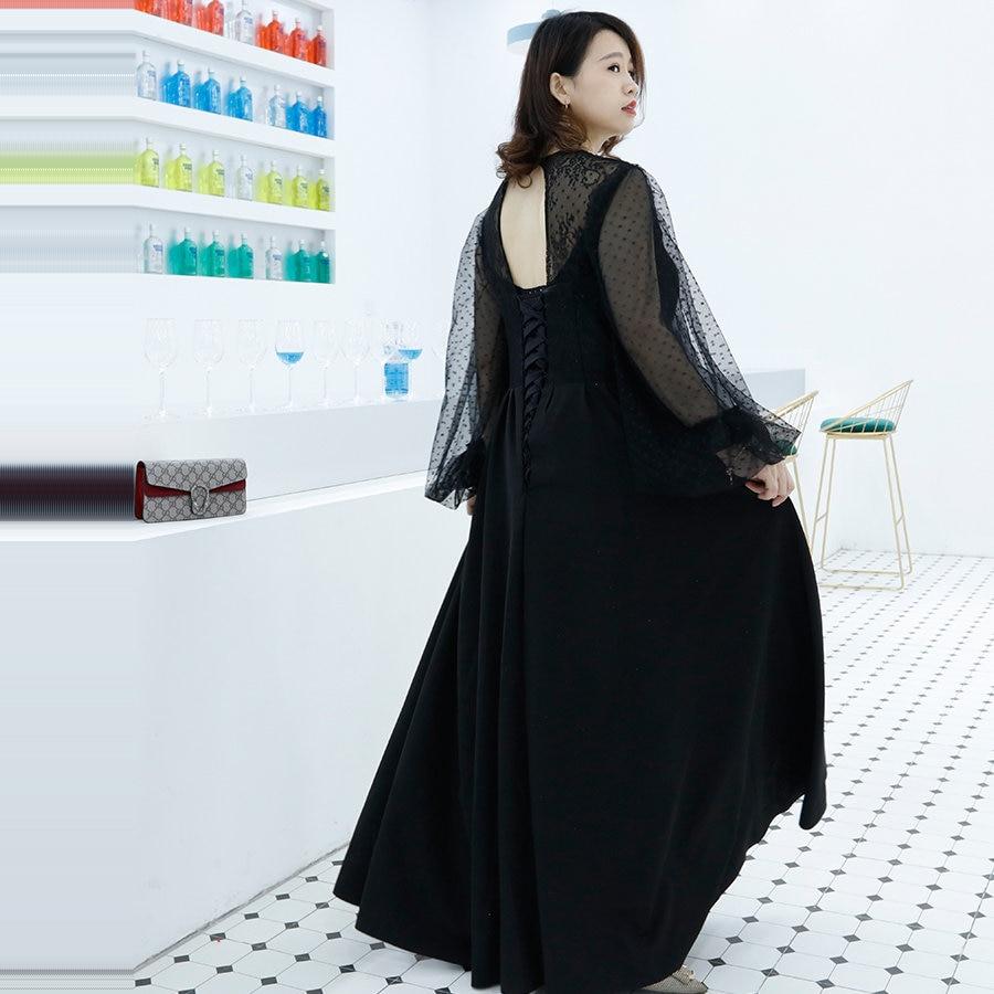 It's Yiiya Evening Dress O-Neck Half Sleeve Floor-Length Robe De Soiree DX032 A-Line Backless Plus Size Women Party Dresses