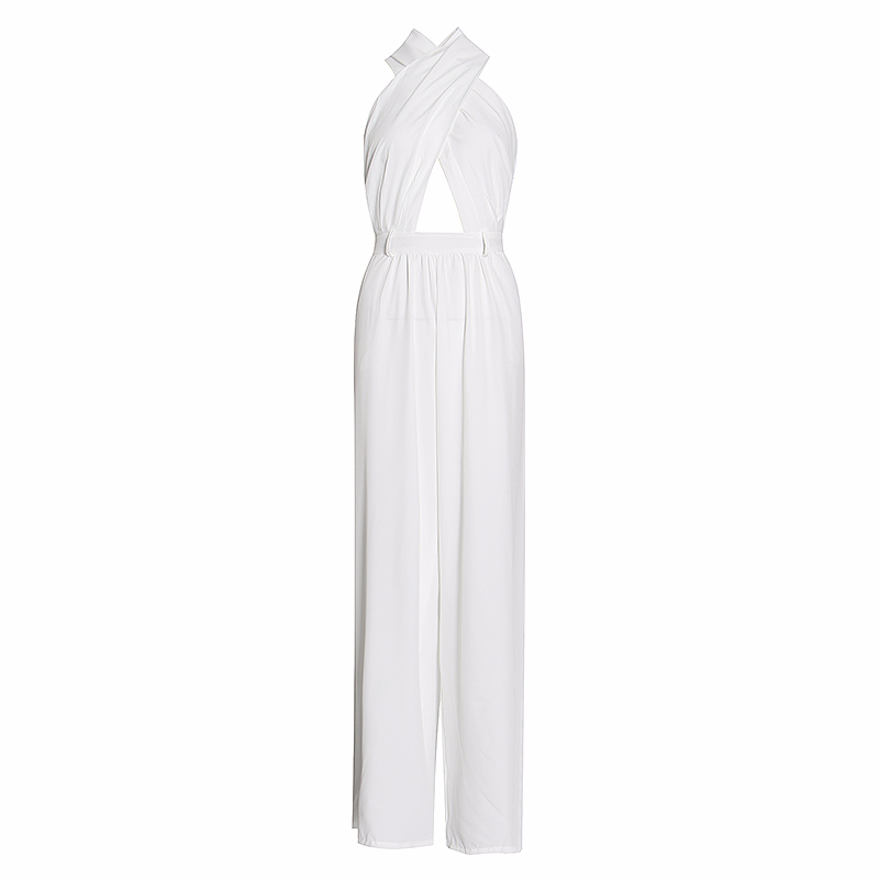 GALCAUR Sexy Woman's Jumpsuit Halter Sleeveless Off Shoulder Backless High Waist Female Jumpsuits without belt Summer 2020 New
