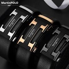 MartinPOLO Genuine Leather Belt Men Luxury Cowskin Strap Belt for Men H Alloy Automatic Buckle Belts Fashion Mens Belts MP2801P