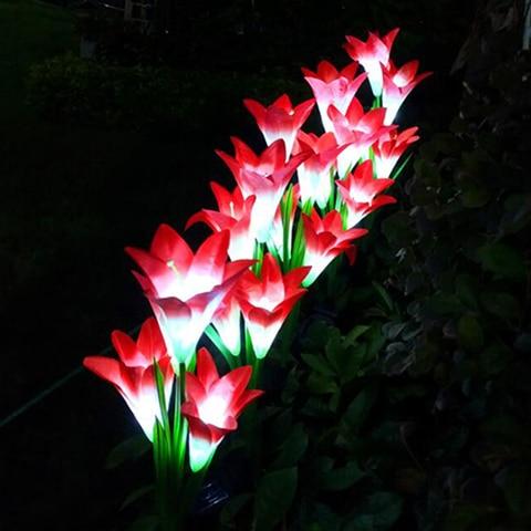 4 cabeca flor de lirio luz solar led decorativo ao ar livre gramado lampada casa