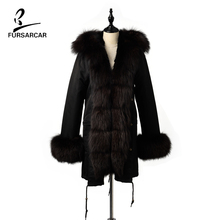 FURSARCAR Women 2019 New Black Real Fur Hooded Winter Parka Female Fox Collar Rex Rabbit Fur Lining Detachable Jackets And Coats 2018 children real rabbit fur jackets girls winter coats with detachable natrual fur lining toddle jacket raccoons fur collar