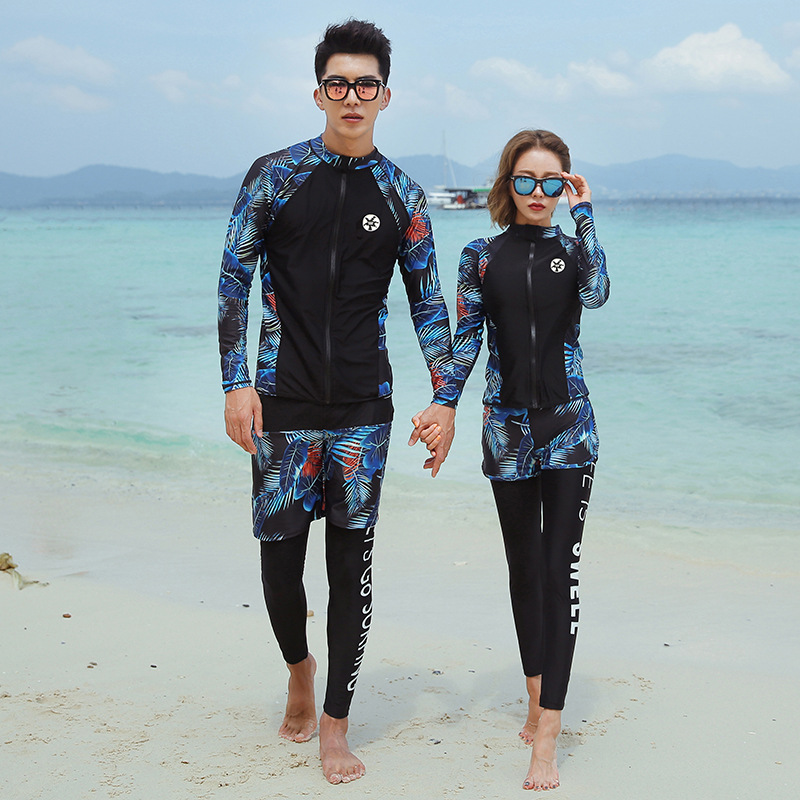 Hot Selling Couples Assortments Diving Suit Zipper Tops Vest Briefs Flower Shorts Black Trousers