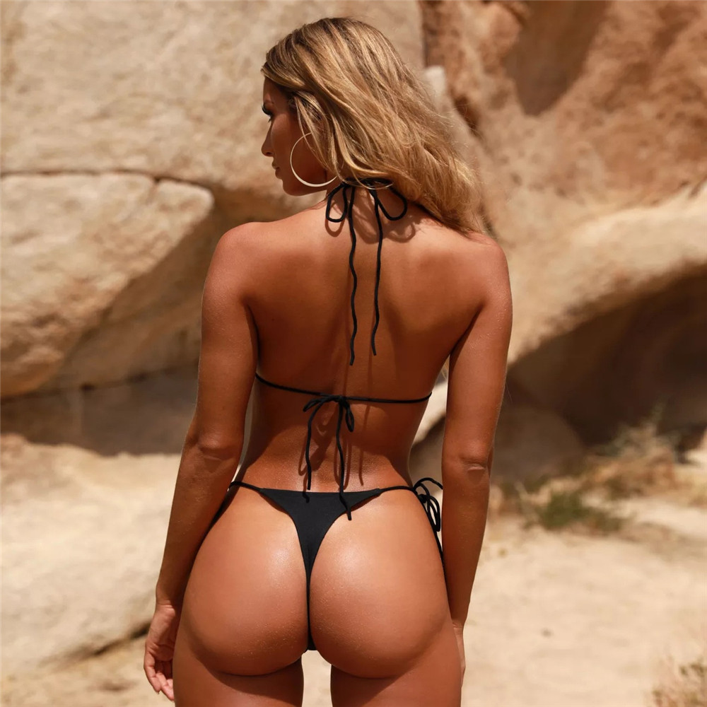 Black String Only Bikini Exposed Crotchless Sexy Extreme Micro String
