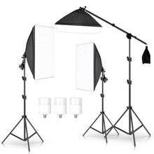 Fotoğraf stüdyosu Softbox aydınlatma kiti kol Video ve YouTube sürekli aydınlatma profesyonel aydınlatma Set fotoğraf stüdyosu