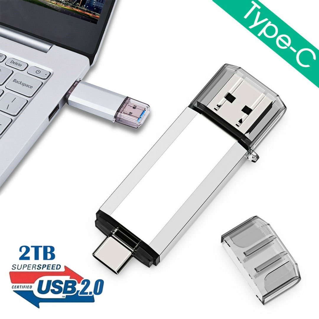 1 Piece New USB 2.0 2TB Type C Flash Drive Disk Memory Storage Stick Pen U Disk Type-C USB Drive For Computer Connector