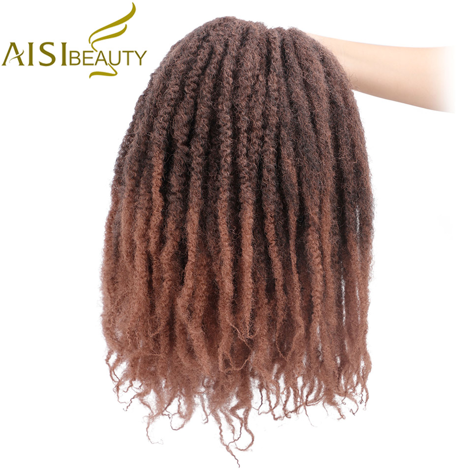 AISI BEAUTY Ombre Marley Braids Crochet Hair Afro 18inch Synthetic Braiding Hair Crochet Braids Hair Extensions Bulk Black Brown