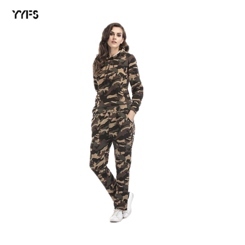 2019 Autumn And Winter New Style WOMEN'S Suit Camouflage Plus Velvet Hoodie + Trousers Sports Casual Two-Piece Set